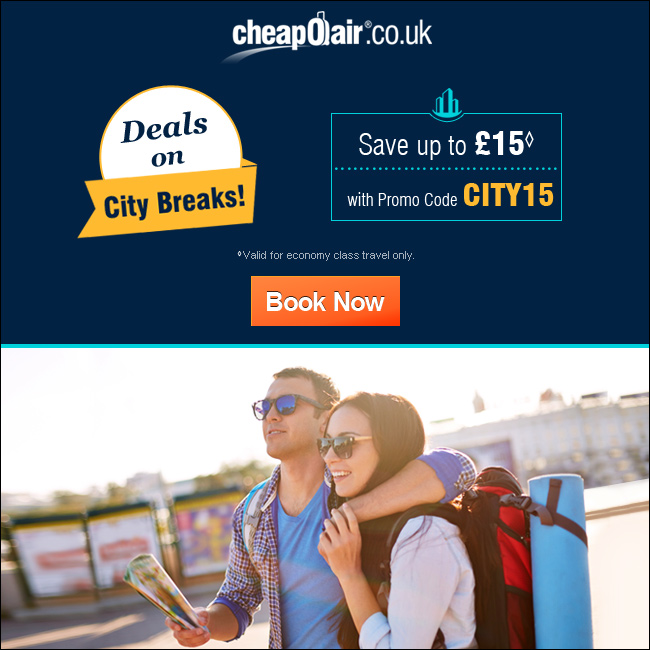 Deals on City Breaks! Save up to £15 with Promo Code CITY15. Book Now!