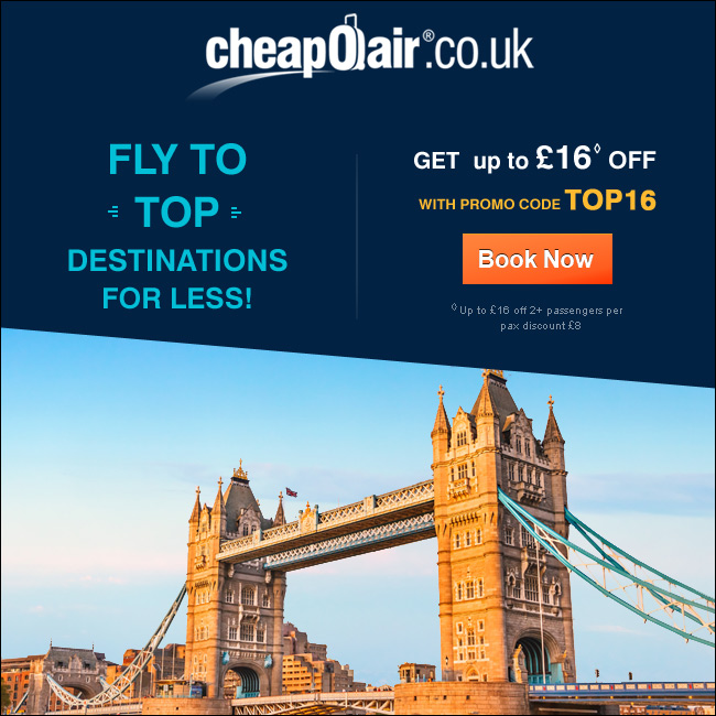Fly to Top Destinations for Less! Get up to £16 off with Promo Code TOP16.Book Now!