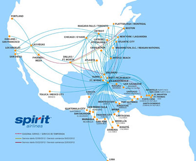 Route map for Cheap spirit airline tickets