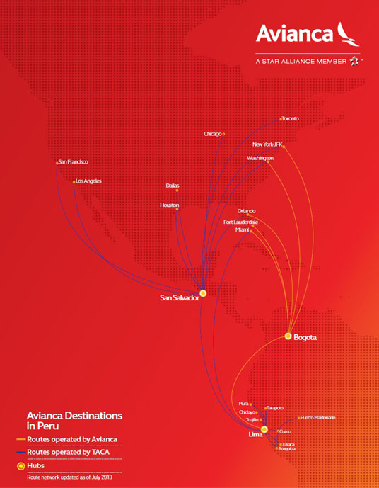 Avianca Airlines Route Map
