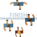 Illustration of Runners Crossing Finish Line