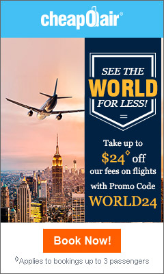 See the World for Less! Save up to $24◊ off our Fees on Flights with code WORLD24