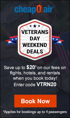 Saluting Our Heroes with Savings! Take up to $20 off our fees on flights by using promo code VTRN20. Book Now!