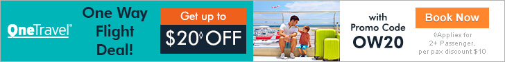 One Way Flight Deal! Get up to $20 off with promo code OW20.Book Now!