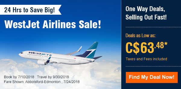 WestJet Airlines Sale!, Deals as Low as: C$63.48