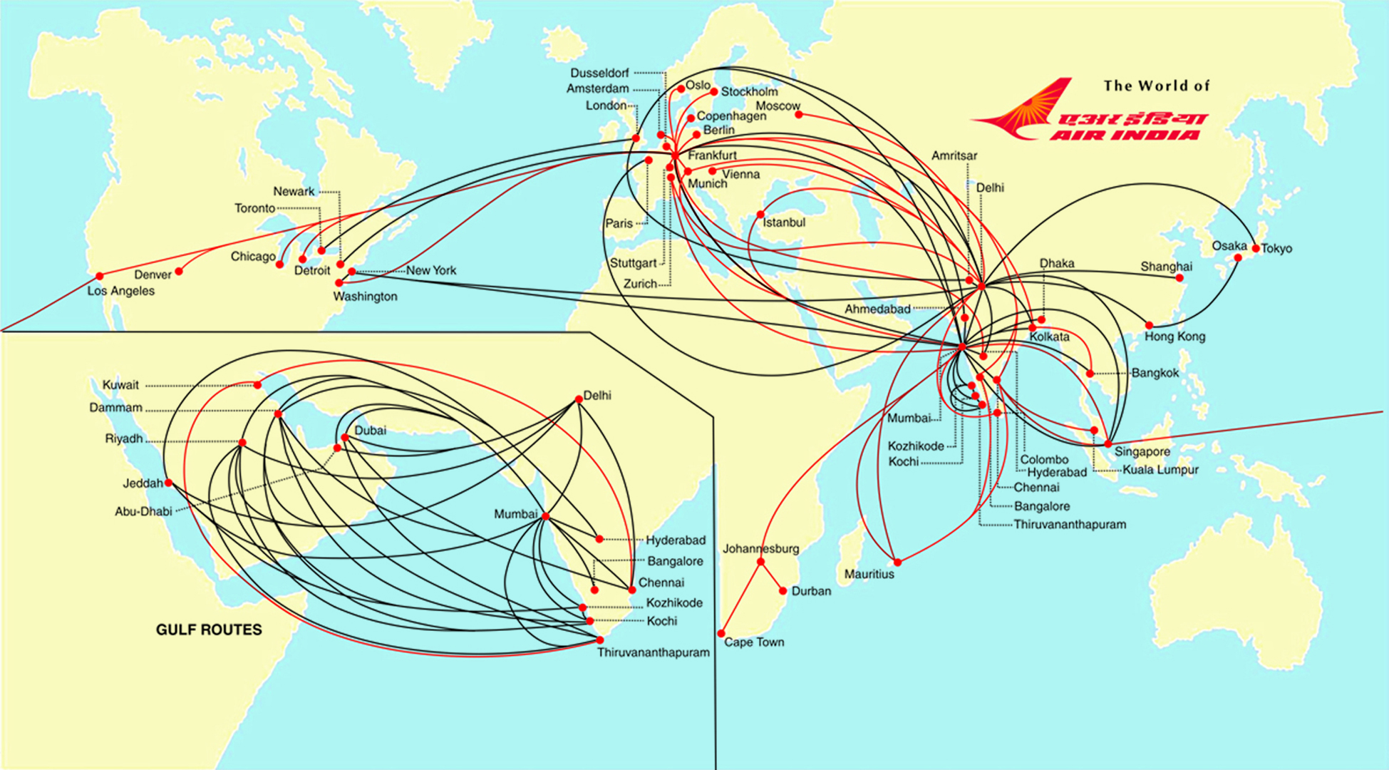 Air India Route Map