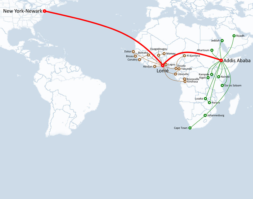 Ethiopian Airlines Route Map