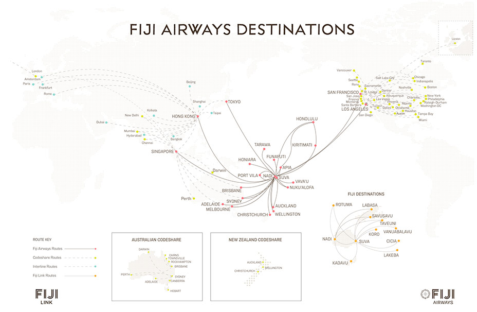 Fiji Airways Route Map