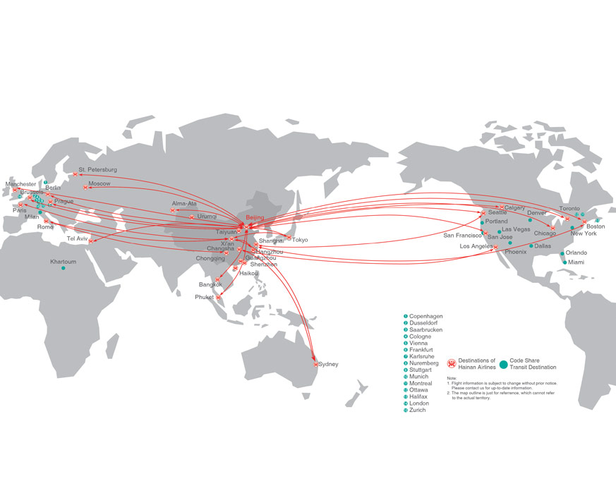 Hainan Airlines Route Map