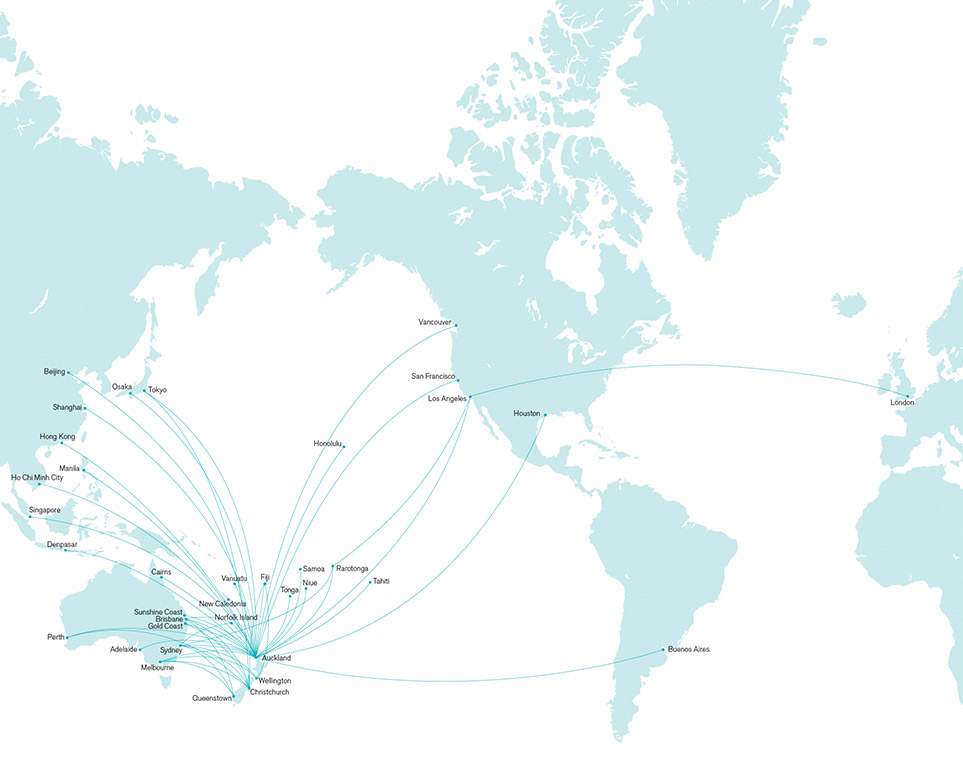 Air New Zealand Route Map