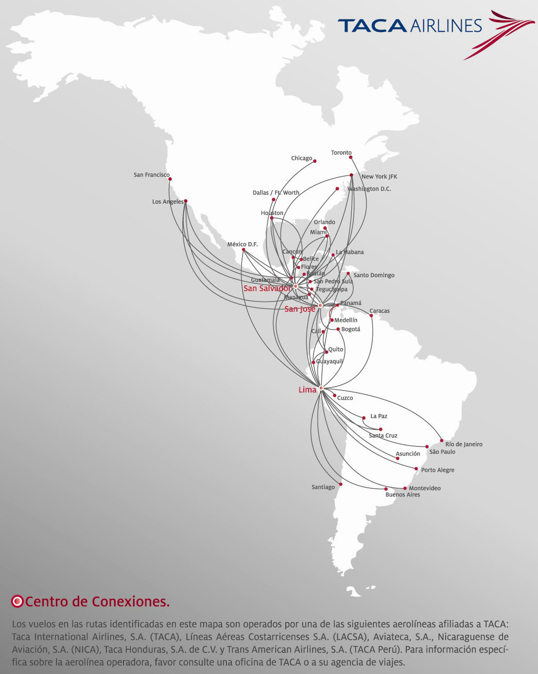Taca Airlines Route Map